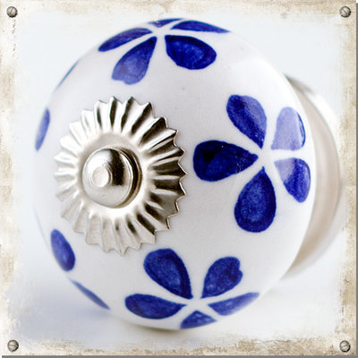 Vit rund knopp med blå blomblad