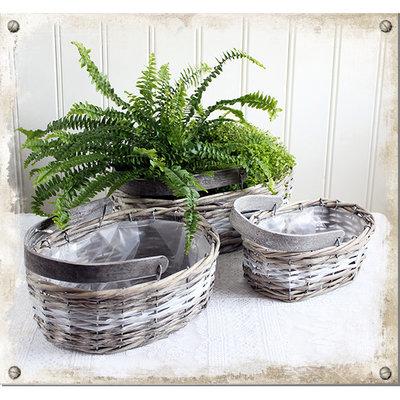 Planteringskorg med handtag, 3-set - utgående