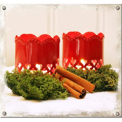 Röd lykta med hjärtan - 2-pack