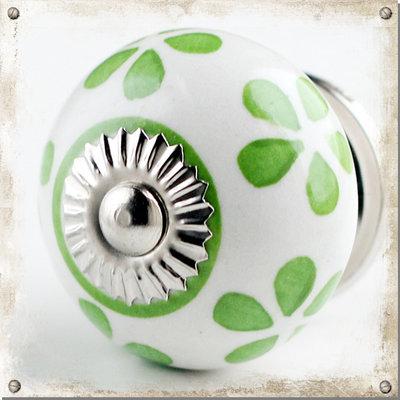 Vit rund knopp med vårgröna blad