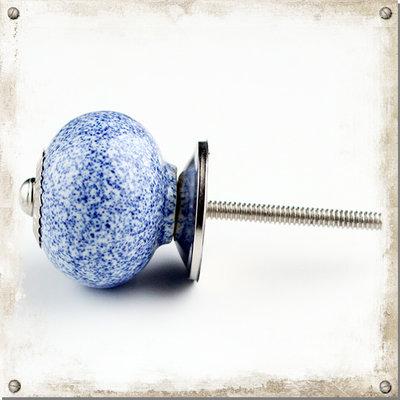 Rund blå melerad knopp