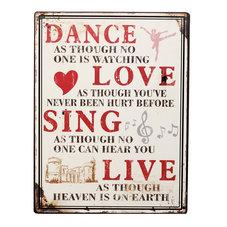Plåtskylt - Dance, Love, Sing, Live