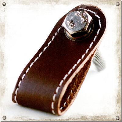 Knopp i läder med söm, brun
