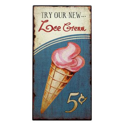Plåtskylt - Try our new... Ice cream