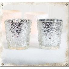 Ljuslykta rosor, silver - 2-pack
